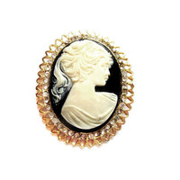 Rhinestone Black and White Plastic Cameo Pin / Brooch