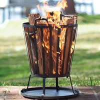 Compact Iron Basket-Style Fire Pit - Plow & Hearth