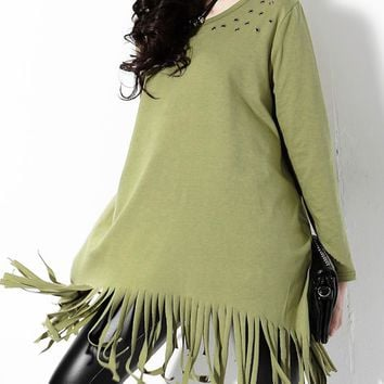 Rivet Detail  Loose Tassel Fringed  Long Sleeves Top