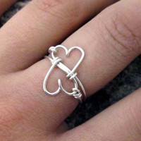 Double Heart Ring  Infinity Ring Wire Wrapped by MiscAndMiscellany