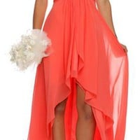 CLEARANCE - High Low Ruched Bodice Strapless Layered Coral Bridesmaid Dress
