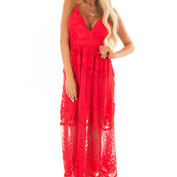 Scarlet Embroidered Lace Maxi Dress with Criss Cross Straps