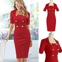 New winter women's short sleeve solid color double-breasted dress corset dress skirt pencil skirt = 1753497604