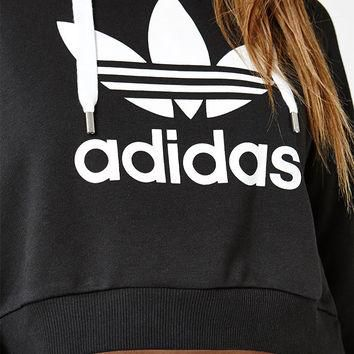 adidas Black Trefoil Pullover Cropped Hoodie at PacSun.com