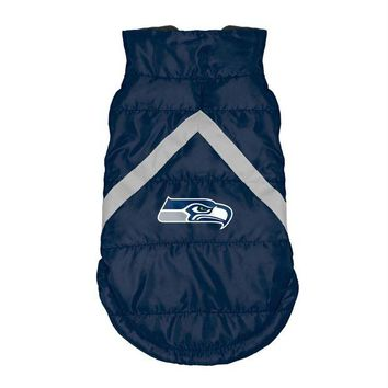 LMFON Seattle Seahawks Pet Puffer Vest