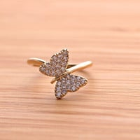 BUTTERFLY ring with crystals, 2 colors | girlsluv.it - handmade jewelry collection, ETSY, Artfire, Zibbet, Earrings, Necklace