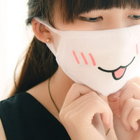 Japanese Anime Dust Mask with Emoji Faces. Style Level: 10/10 Kawaii Fabulous.