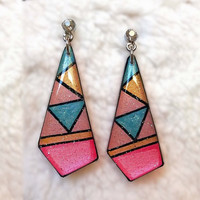 PASTEL GEOMETRIC PATTERN EARRING