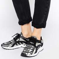 Adidas Originals Racer Lite Black Print Trainers at asos.com