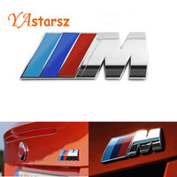 Car styling M power Motorsport Metal Logo Car Sticker Rear Trunk Emblem Badge for BMW E46 E30 E34 E36 E39 E53 E60 E90 F10 F30 M3
