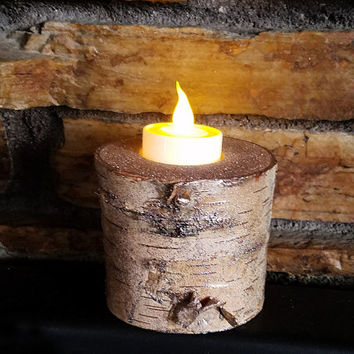 Birch Glitter Candle Holder, Holds a Flameless LED Tealight Candle, Bring Nature Indoors, Holiday Decor, Unique Gift, Rustic Decor, GLT137