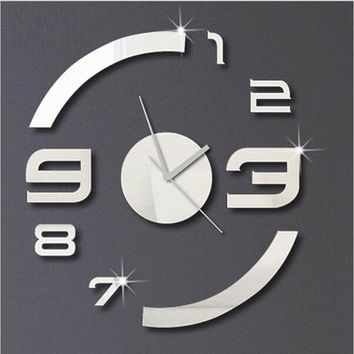DIY luxury mirror wall clocks 3D Home Decor wall watches wall stickers clocks