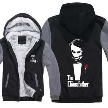 Arrival Thicken Fleece Jacket The Dark Knight Joker Hoodies Why So Serious Men Zipper Winter Warm Sweatshirts