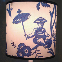 White Lampshade Drum/Cobalt Blue/Cotton Fabric/Blue Grosgrain Ribbon/ Smiling Japanese Woman/Tree/ Umbrella/Birds/Flowers/Asian/Minimalist