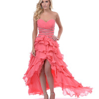Coral Ruffles Chiffon High Low Prom Dress - Unique Vintage - Prom dresses, retro dresses, retro swimsuits.