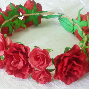 Big small Red Rose headpiece / Flower crown/ Rose headpiece