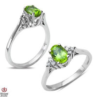 .06CT Diamond Fashion Ring with Created Peridot in Sterling Silver 925  0.06CT
