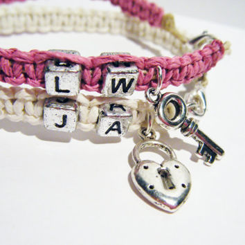 Heart Lock and Key Couples Bracelets Pink by customhemptreasures