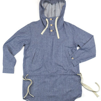 Wool-Chambray Pullover Hoodie