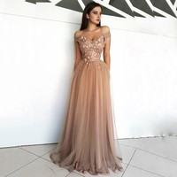2019 Hot Off Shoulder Prom Dresses Long High Quality beading evening eress cheap H1960
