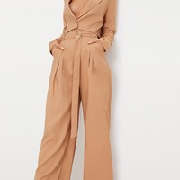Camel Wide Leg Tie Waist Trousers