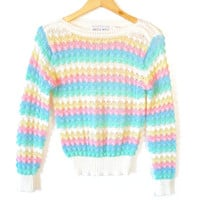 Vintage 80s Pastel Rainbow Bubble Knit Ugly Sweater
