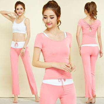 New Women's Yoga Sets Fitness Sportswear Suits short Sleeve Yoga Shirts Running Gym Yoga Top And Elastic Slim Pants 1 Set