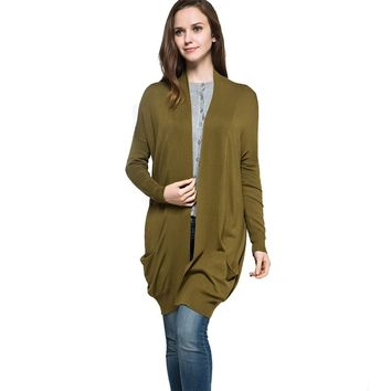 Solid Color Long Style Plus Size Casual Knitted Cardigan Sweater