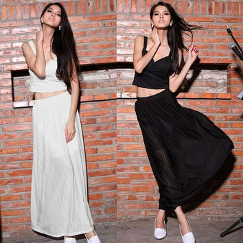 Stylish Sexy Lady Women Crop Top Evening Cocktail Maxi Long Skirt Two Piece Set Outfit Full-Length Skirt + Crop Tops Blouse F_F