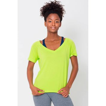 Lime Raglan V-neck Tee