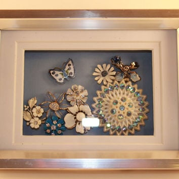 Vintage, Bling, Silver tone, Shadow Box, floral, butterfly