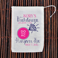 Atlantic City Hangover Kit Bachelorette Party Welcome Bag- Muslin Cotton Mini Favor Bags