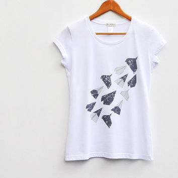 Aerodynamic. Origami, Paper Planes, Constellation Tshirt, Women in White, Organic Cotton Tee