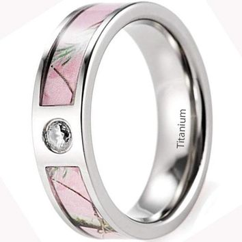 CERTIFIED 6mm Women's Titanium Pink Branches Camo Ring with CZ Stone Inlay
