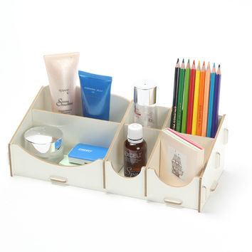 DIY Wood Makeup Organizer Stationery Storage Box Cosmetics Jewelry Box Make Up Organizer Wooden  28*12*10cm Desk Organizer