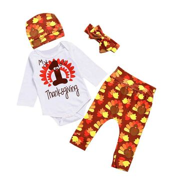 4Pcs/Sets Newborn Baby Girl Boy Clothes Print Rompers+Floral Pants+Hats+Headband Infants Baby Kids ThanksGiving Outfits Set