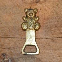 Vintage Teddy Bear Brass Bottle Opener,