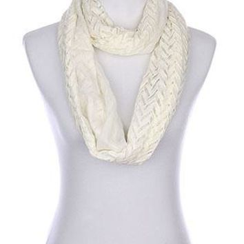 Scarf Chevron Pattern Crochet Infinity Double Layered Sheer