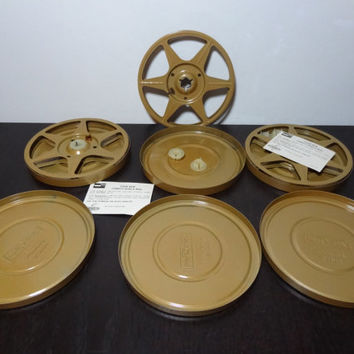 Vintage Set of 3 Gold Two Guys 8mm Film Canisters with Reels