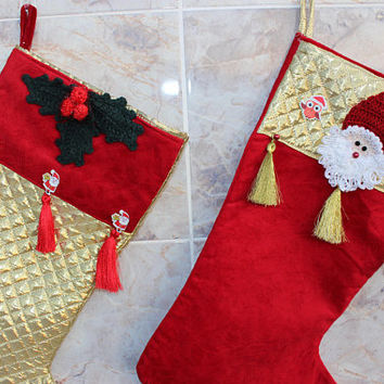 Santa Stocking  Knit Santa Stocking Boho Stockings Holly Berry Christmas EXPRESS SHiPPiNG Owl stockings Ready to Ship
