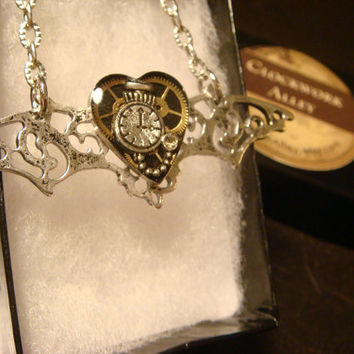 Steampunk Clockwork Necklace with Gears and Tiny Pocket Watch with Wings (1557)