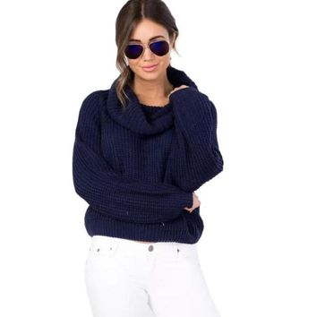 Women's Plush Cropped Turtleneck Sweater