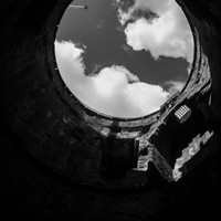 Black and White Photograph from within a Welsh Castle Turret, Architectural Photography, Wall Art, Monochromatic photography, Minimalistic.