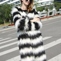 Monochrome Stripe Collarless Open Front Faux Fur Coat