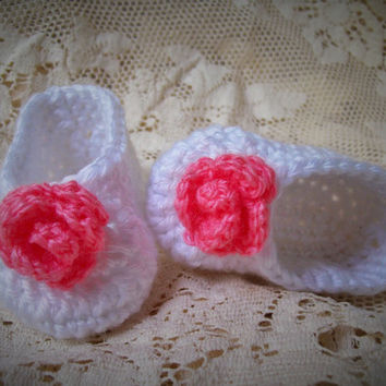 Crochet Baby Ballet Shoes, White Ballet Slippers, Pink Rose Booties,  Baby Girl Booties, Newborn to 3 months