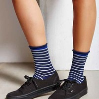 Striped Roll Cuff Ankle Sock-