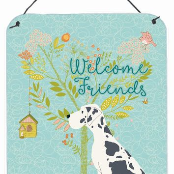Welcome Friends Harlequin Great Dane Wall or Door Hanging Prints BB7590DS1216