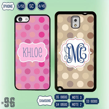 Polka Dot Monogram Samsung Galaxy S5 case Samsung S4 cover S3 Note 3 Note 2 , IPhone 5S case , personalized iPhone 5 , 5C , IPhone 4 4S 96