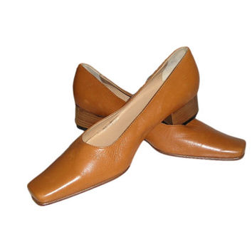 Vintage New DANIELLA ROSSI Milan Italy Cognac Tan Leather Flat Shoes 36.5/6.5 New Old Stock with Tags