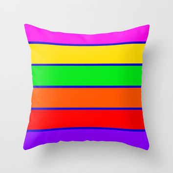 Colorful rAinbow stripes Throw Pillow by 2sweet4words Designs